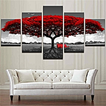 5PCS Home Decor Canvas Print Painting Wall Art Modern Red Tree Scenery  Bench Gift [XL