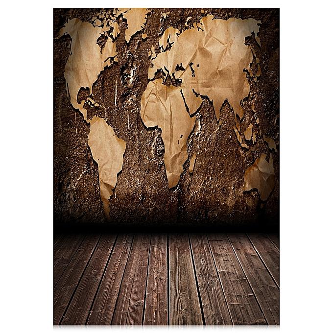 Generic World Map Wood Floor Washable Photography Backdrop Cloth ...