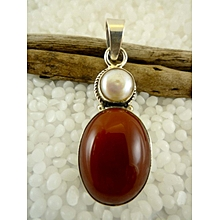 925'Sterling Silver Mookaite and Pearl Pendant