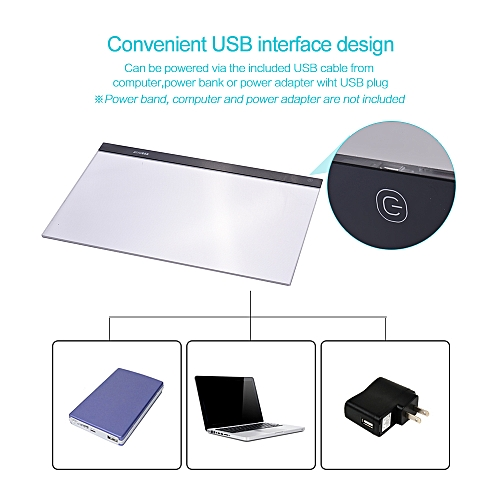A2 Large Ultra-thin LED Light Pad Box Painting Tracing Panel Copyboard  Stepless Adjustable Brightness USB Powered for Cartoon Tattoo Tracing  Pencil