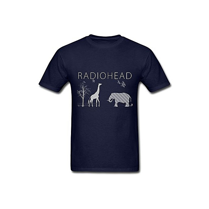 6185edffa00e55 Radiohead Elephant Andgiraffe T Shirt For Men Navy Fashion O-Neck Short  Sleeved T-