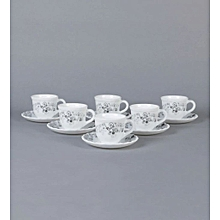 Tulip Mystrio Black Opal Ware 160 ML Cup and Saucer - Set of 6