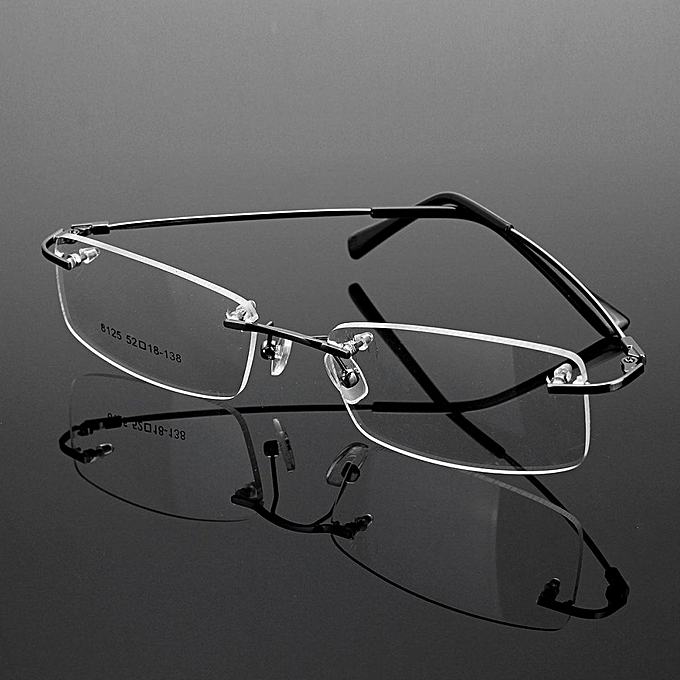 f8241634217c Rimless Glasses Lightest Rx Optical Eyeglasses Memory Titanium Spectacles  Frame Gray