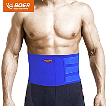 BOER Sweat Absorb Fitness Adjustable Waist Back Support Belt for Man Woman Blue