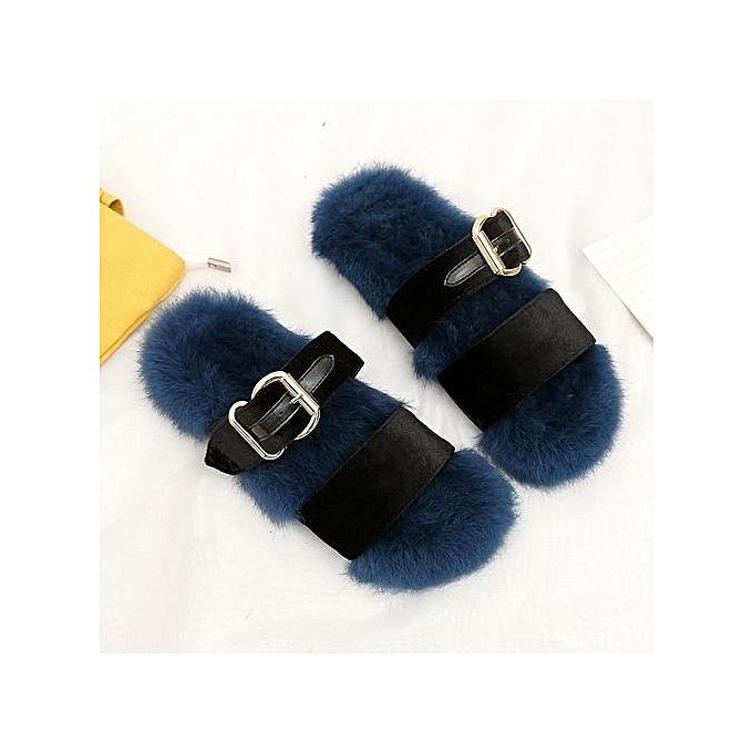 dfb140dc2b30 bluerdream-Women Slippers Fashion Plush Slippers Women Faux Fur Flip Flops  Flat Shoes BU
