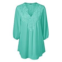 Plus Size Sweet Crochet Spliced Tunic Blouse-GREEN