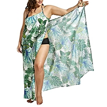 Women Palm Leaf Print Maxi Cover Up Dress - Green