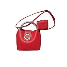 2 In 1 Ladies Leather Handbag - Red