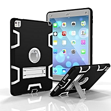 For Ipad 6 Case, Armor-Box Three Layer Heavy Duty Rugged Hybrid Protective With KickStand Case For IPad Air 2 (Black/Grey)