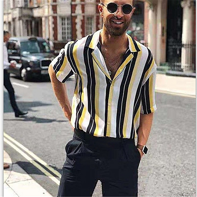 Men Summer Fashion Shirts Casual Striped Shirts Short-Sleeve Top Blouse