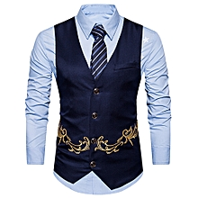Men Business Suit Vest Button Sleeveless Slim Fit Skinny Wedding Waistcoat - NAVY BLUE