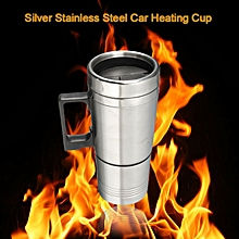 New 12V 300ml Silver Stainless Steel Car Heating Cup Electric Mug Thermos Type Heating Hot Drink Electric Kettles Auto Supplies