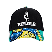 Black And Cyan Baseball / Sports Hat With Kelele Color On Brim