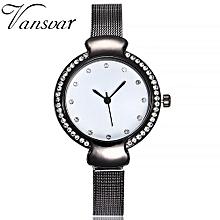 Olivaren Vansvar Casual Quartz Stainless Steel Band Marble Strap Watch Analog Wrist WatchBlack