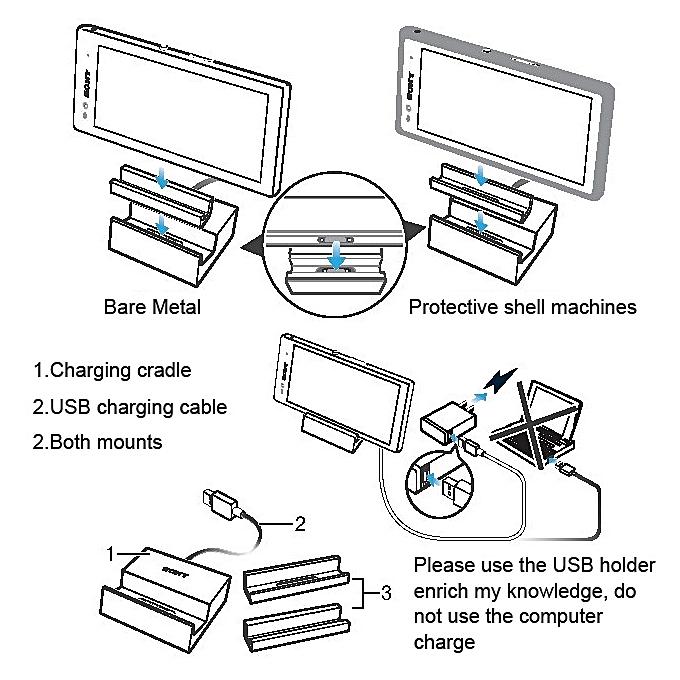 USB Desktop Magnetic Charging Dock For Sony Xperia Z3 Xperia Z2 .