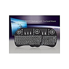 Wireless Keyboard with Touchpad Mouse  and multicolour Backlight - Black