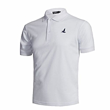 High Quality Fashion Men's Casual Polyester Summer Short Sleeves Polo Shirts-White