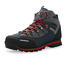 Winter Autumn Leather Men Hiking Mountain Climbing Shoes Anti-skid Waterproof Outdoor Trekking Shoes Wearable High Quality - Red