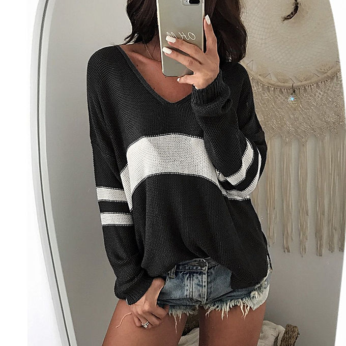 3762f50631b Women Loose V Neck Knitted Pullover Sweater Long Sleeves Dropped Shoulder  High Low Hem Knitting Top