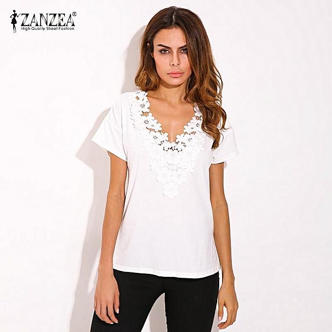 de8dafa2b53 ZANZEA Summer Spring Womens Casual Loose Short Sleeve V-neck Black Lace  Flower Collar Shirt