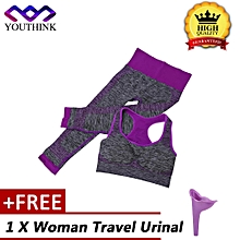 [Buy 1 Get 1 Free Woman Travel Urinal] Women Gym Suits Yoga Bra Leggings Fitness Sports Wear (Purple M)