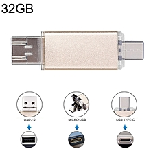 32GB 3 in 1 USB-C / Type-C + USB 2.0 + OTG Flash Disk, For Type-C Smartphones & PC Computer (Gold)
