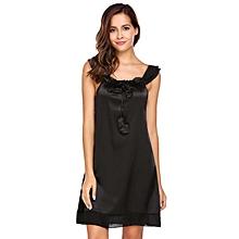 Women Spaghetti Strap Sleeveless Mesh Patchwork Tie Nighties Sleepwear Dress ( Black )