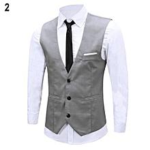Men's Classic Formal Business Slim Fit Chain Dress Vest Suit Tuxedo Waistcoat-Grey