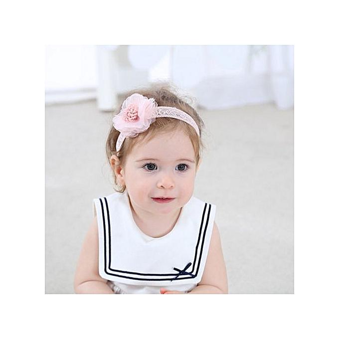 f1ef3a3e1b4 Braveayong Lace Headband Kids Flower Pattern Hair Girls Baby Princess  Hairband PK -Pink
