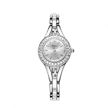 Silver Tone Crystal Dial Watch + Free Gift Box