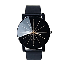 Fashion Unisex Analog Dial Clock Pu Leather Wrist Watch Round Case -Black