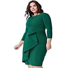 Emerald Plus Size Peplum Midi Dress