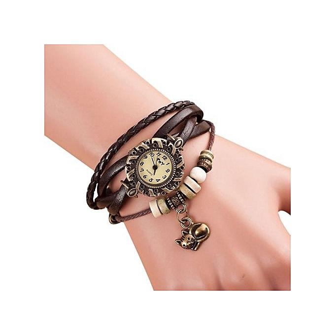 ... Olivaren Quartz Weave Around Leather Cat Bracelet Lady Woman Wrist Watch Brown ...