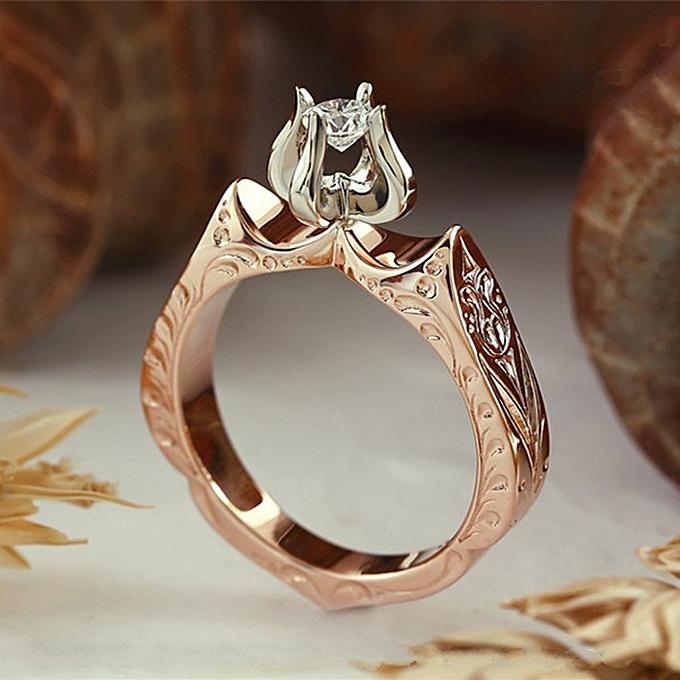 Fashion Luxuryladys Diamond Wedding Ring Engagement Lotus Flower