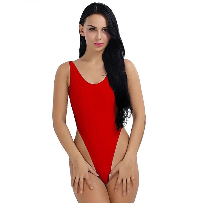 27d62615606 Sexy Women One-Piece Push Up Bikini Swimwear Monokini High Cut Backless  Leotard Thong Bodysuit