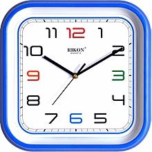 Wall clock - square shaped, blue hard plastic frame 27 cm x 27 cm