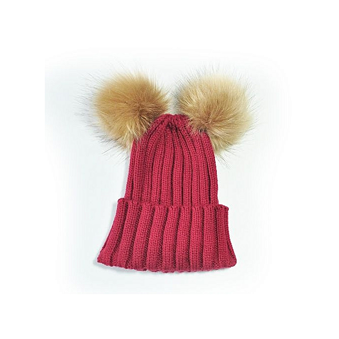 18870cbc084 Braveayong Double Ball Child Kids Toddler Winter Beanie Hat Cap Wool Knit  Fur WE -Wine