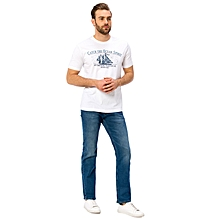 White Standard Short Sleeve Male T-Shirt