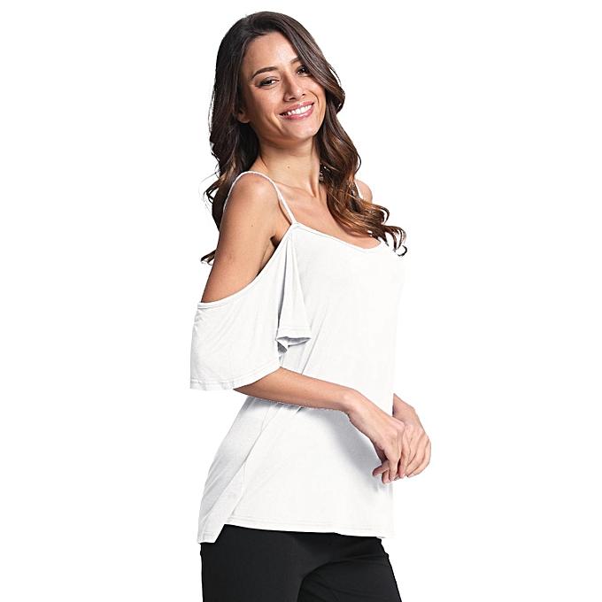 Womens Low Cut Off Shoulder Flounce Sleeve Sling Swing Top
