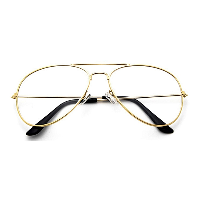 2c3fb7f1df Women Men Big Round Metal Frame Clear Lens Retro Geek Glasses Eyeglasses  Eyewear Gold