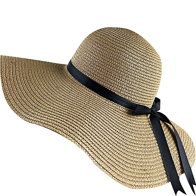 6a926b23 simple Foldable Wide Brim Floppy Girls Straw Hat Sun Hat Beach Women Summer  Hat UV Protect