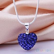 Women's Fashion Rhinestones Love Heart Pendant Choker Chain Necklace Jewelry