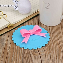 Hot Kawaii Bow Onion Lace Dust Reusable Silicone Cover Cup-Blue