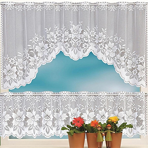 Generic Lace Coffee Cafe Curtain Tier Set Kitchen Dining Room Decor