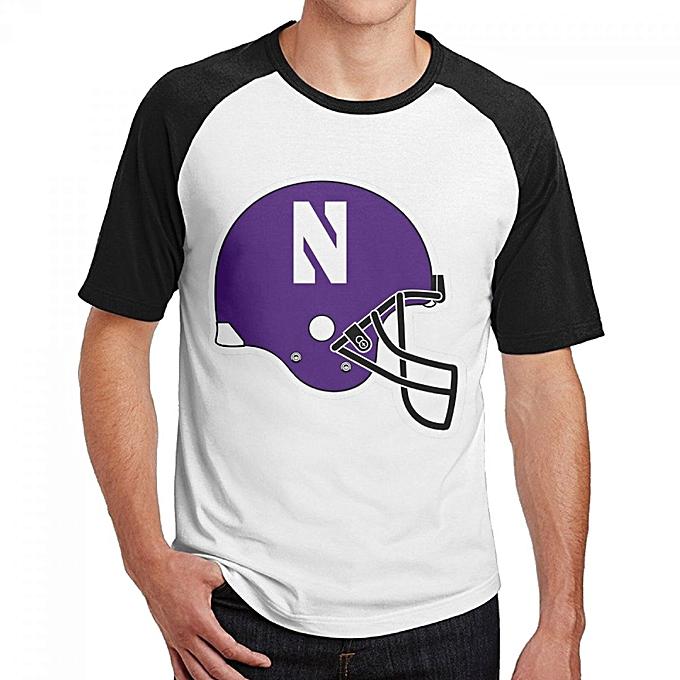 newest 764c9 37f96 Northwestern Wildcats Helmet Men's Cotton Short Baseball Raglan Sleeves  T-Shirt Black