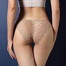 Grace Luxury women's underwear sexy lace transparent temptation briefs low waist hips hollow T pants-pale mauve-pale mauve