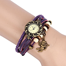 Quartz Weave Around Leather Bracelet Lady Woman Wrist Watch PP