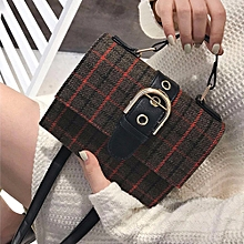 singedan shop Women's Fashion Plaid Stripes Wool Belt Buckle Crossbody Shoulder Bags