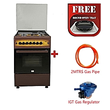 Free Standing Cooker, 4 Gas Burners, Gas Oven - MST60PIAGDB/EM, 60 X 60, With 2M German Technology Gas Pipe and IGT Snap On Compact Low Pressure Regulator - Dark Brown