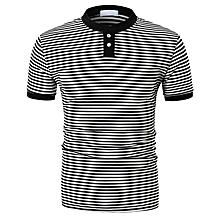 Mens Stripe Mandarin Collar Short Sleeve Tee Tops Classic Casual Slim Henry T-Shirts